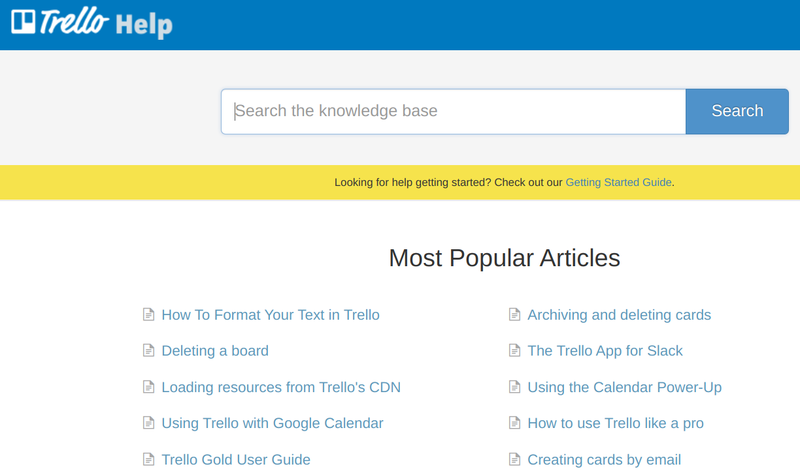 The Trello knowledge base has a search bar with two columns under it listing the 10 most popular articles.