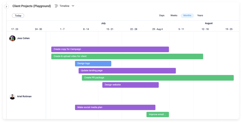 Team member workloads and tasks are displayed in a Gantt-like bar chart.
