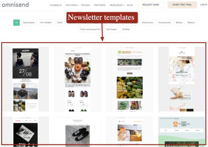 Omnisend's newsletter templates.