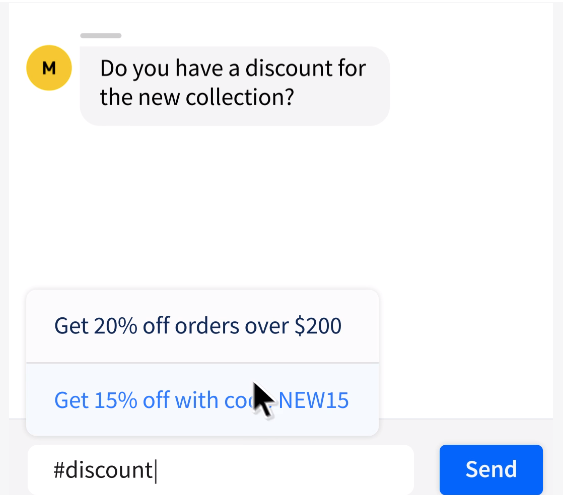 The screenshot shows common responses to discount inquiries.