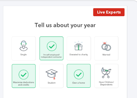 TurboTax form with option to select life events