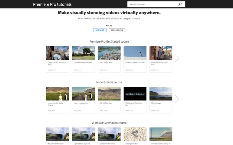 Adobe's web page for Premiere Pro tutorials.