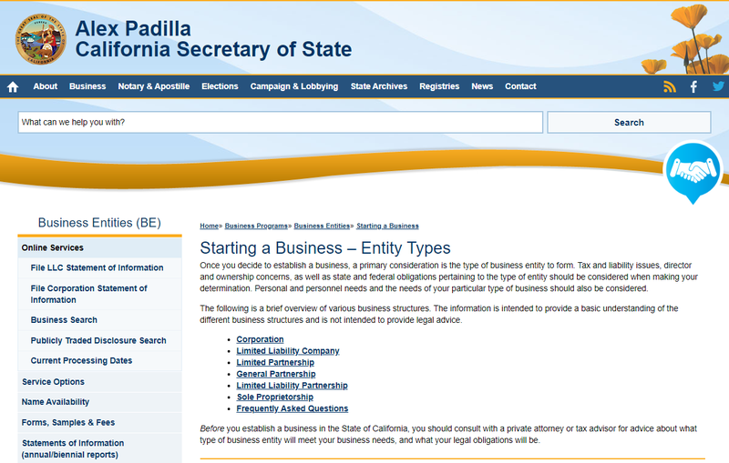 Screenshot of the California Secretary of State Business Entities page.