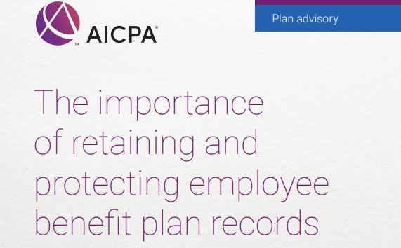 Screenshot of an AICPA guide to benefit plan record retention.
