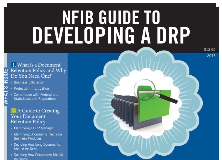 Screenshot of an NFIB document retention guide.