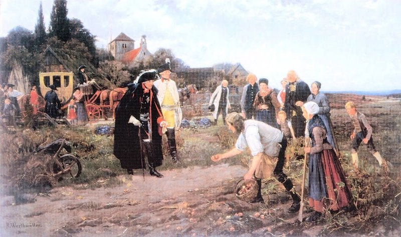 A painting of Federick the Great watching peasants grow potatoes.