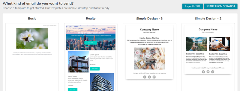 VerticalResponse email template homepage with design options