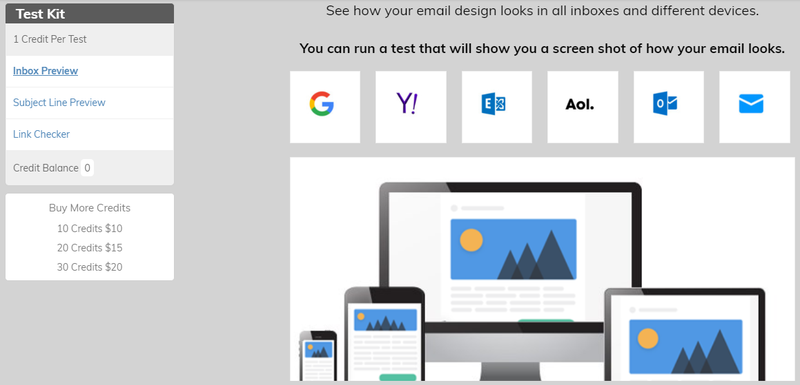 VerticalResponse test to view email in different hosts, like Google, Yahoo, and more