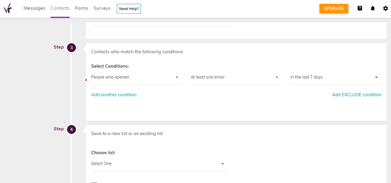 VerticalResponse email automation set up with contact conditions