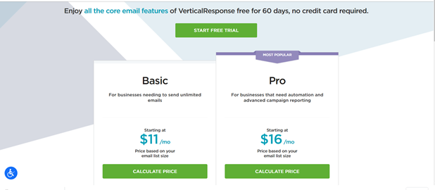 A screenshot of VerticalResponse's two pricing plan options.