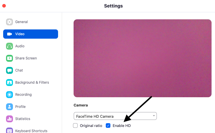 A view of the settings page and how to select Enable HD under the Video Settings tab.