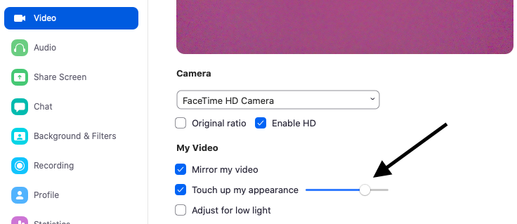 """A view of the """"touch up my appearance"""" option under the Video Settings tab."""