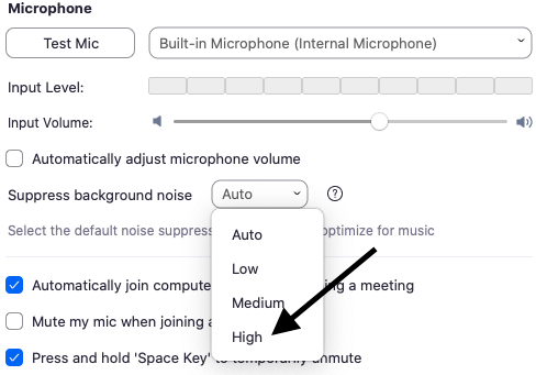"""A screenshot of the """"suppress background noise"""" option under Zoom's Audio Settings."""