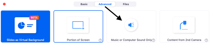 """A screenshot of instructions on how to find the Advanced tab and then to select """"music or computer sound only"""" in order to improve music quality."""