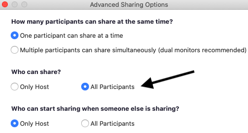 Everyone can share their screens on a Zoom conference call with the All Participants button.