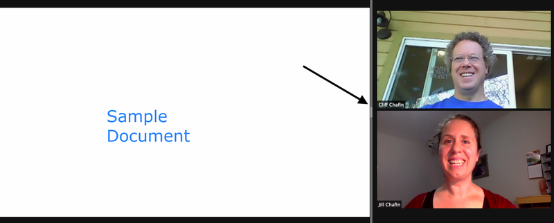 A Zoom screen share view showing a sample document on the left, two participants on the right, with an adjustable grey bar in between.