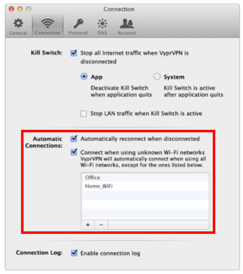 The VyprVPN Kill Switch configuration dialog box has multiple options.