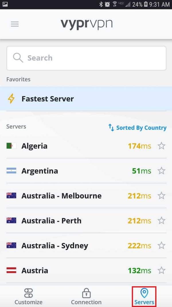 The VyprVPN server list is shown on a smartphone.