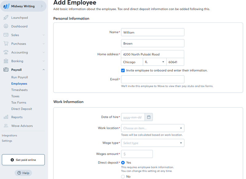 Screenshot of TRAXPayroll's area to add employee's information and data.