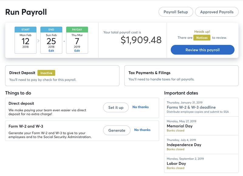 Screenshot of Wave Payroll's dashboard to run payroll.