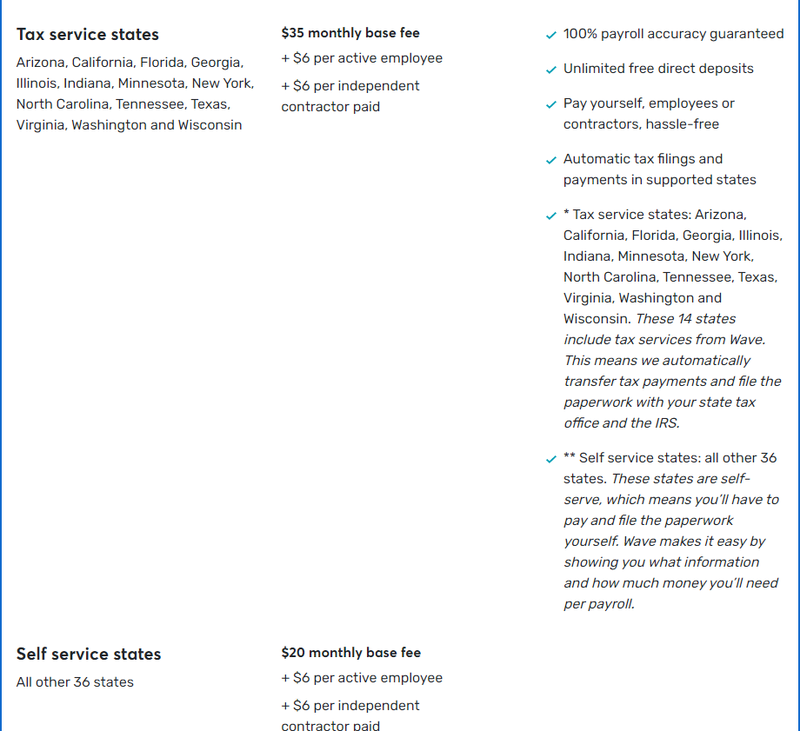 Screenshot of Wave Payroll's payroll service plans for small businesses.