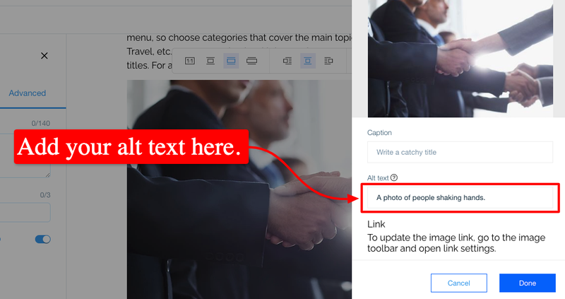 The section in Wix where you can add an alt text to your images.