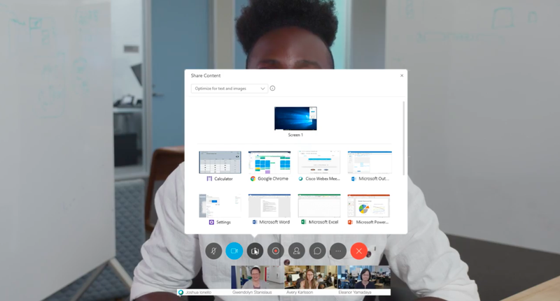 Webex Meetings' screen sharing options window showing nine different screens that can be shared.