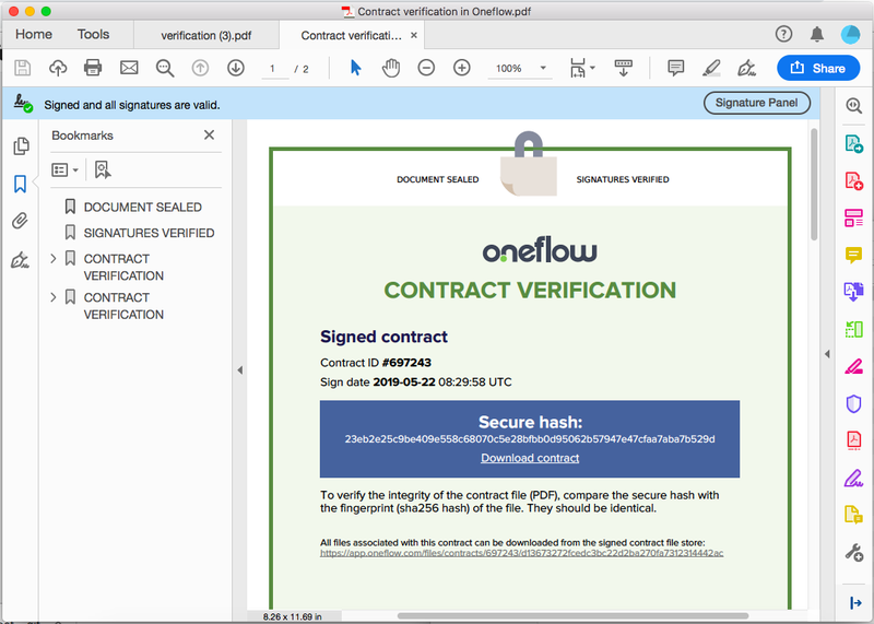 A digitally signed document authenticates that it was securely sealed and the signatures verified.