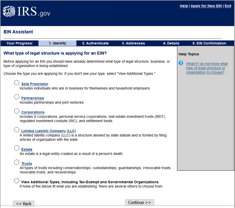 The EIN Assistant page of the IRS website.