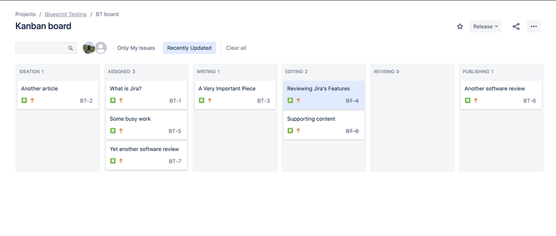 Jira kanban board view showing different columns to show status of tickets.