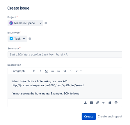 Jira's issue tracking screen with fields to add specific information about the problem
