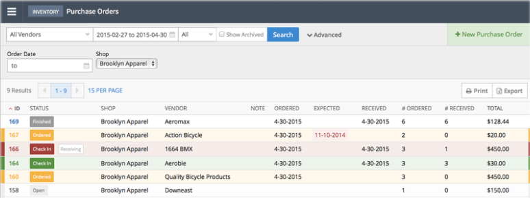 The Lightspeed purchase order management page showing the platform's features and columns and rows containing purchase order information.