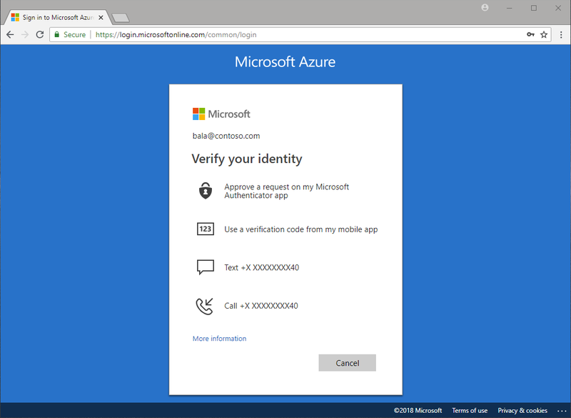 Multiple Azure Active Directory MFA options are displayed on a computer screen.