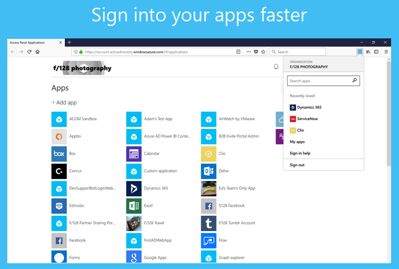 The My Apps browser extension is displayed over the My Apps portal.