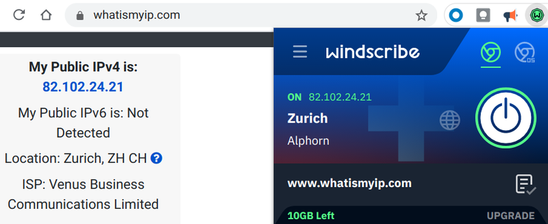 The Windscribe extension with location data is shown next to an IP detector.
