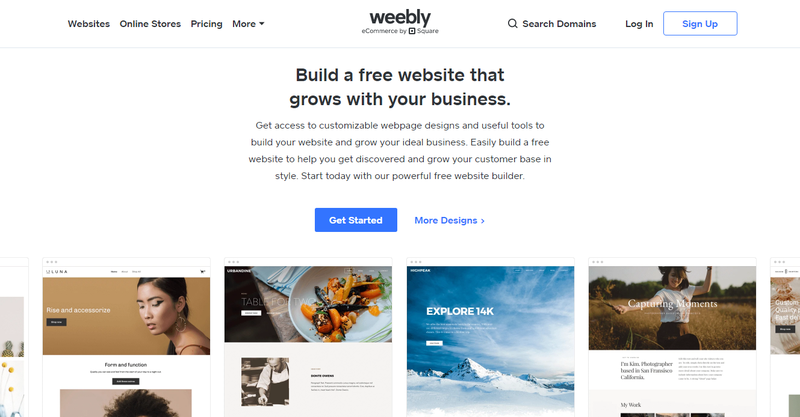 Weebly landing page advertising its free website builder and showing different website examples.