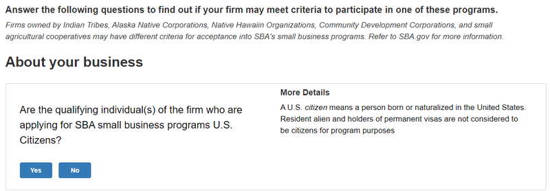 A screenshot of the Small Business Administration's women-owned small business eligibility tool.