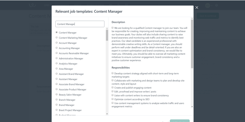 Workable search tool for job description templates with title options on the left and description on the right.