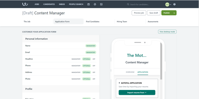Workable screen showing job posting customization options on the left and job preview on a mobile device on the right.