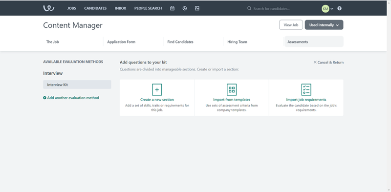 Workable screen showing options to create an interview kit with options for creating a new section, importing from a template, and importing job requirements.