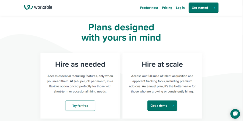 Workable web page with options to start a free trial or get a demo.