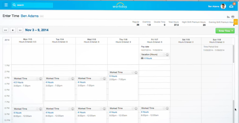 Screenshot of a sample employee attendance page from Workday.