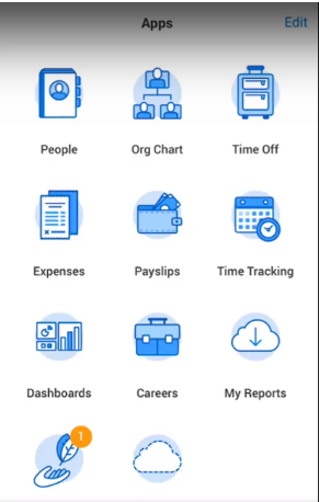 Screenshot of Workday Payroll's mobile app for both iOS and Android so that employees can access pay stubs, request PTO, and enter their hours.