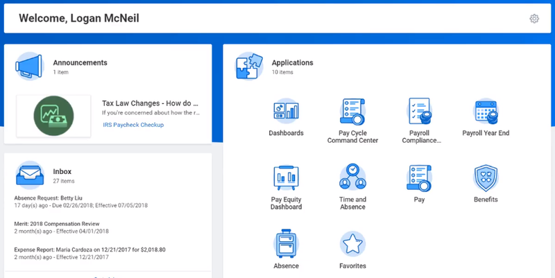 A screenshot of Workday Payroll's employee self-service feature for requests and answering questions.