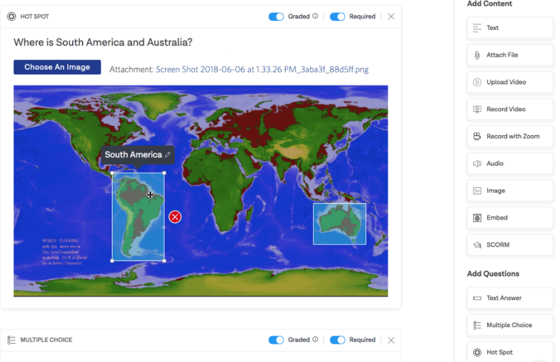 A map with clickable areas to identify South America and Australia.
