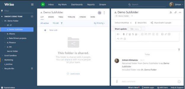 Example folder and subfolder for Wrike