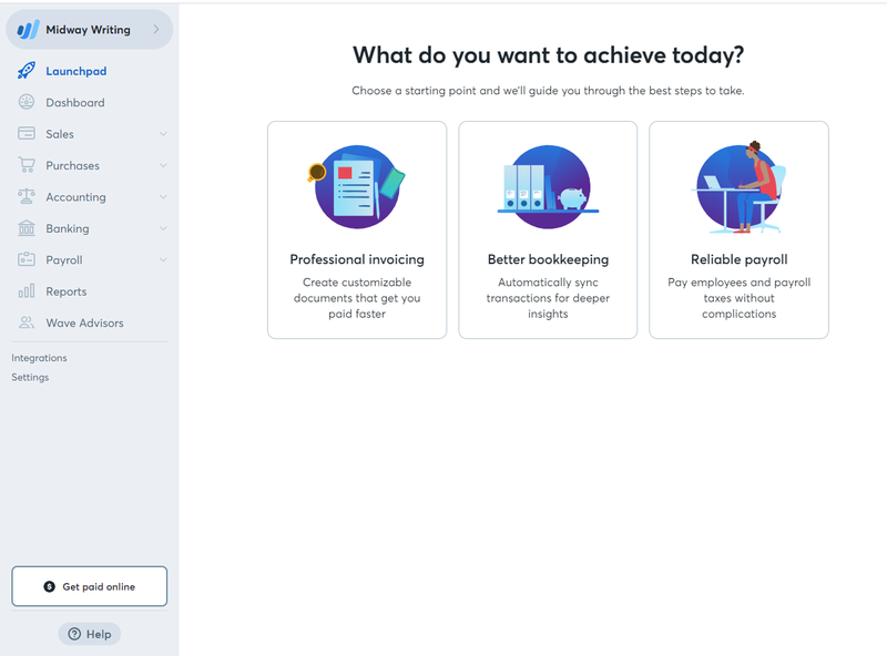 Accounting by Wave's Dashboard