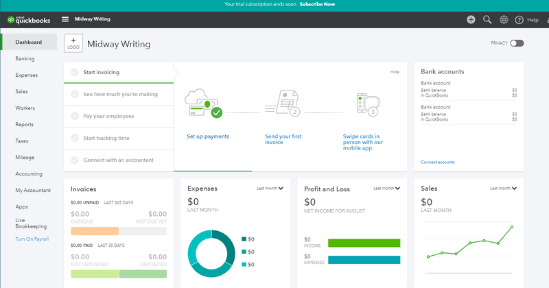 QuickBooks home dashboard with customizable reports