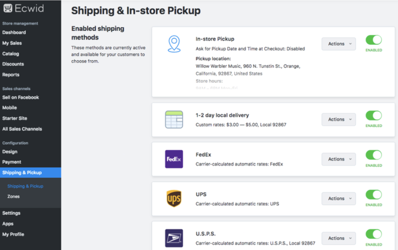 Ecwid's Shipping feature