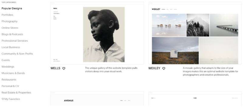 Screenshot of Squarespace Commerce Popular Designs